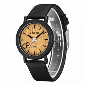 """""""〇〇(メンズ腕時計。) CUCOL Eco Wooden Grain Dial Watches for Men and Women Leather Band Casual Design Black Color 正規輸入品"""""""