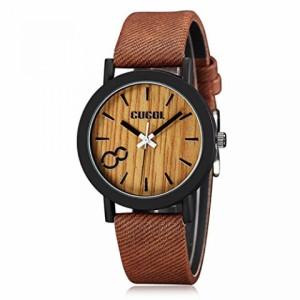 """""""〇〇(メンズ腕時計。) CUCOL Eco Faux Wooden Dial Watches for Men and Women Leather Band Casual Design Brown Color 正規輸入品"""""""