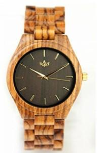 """""""〇〇(メンズ腕時計。) Woody Watch Zebra Wood Men's Fashion Wristwatch with Bracelet and Japanese Quartz Movement 正規輸入品"""""""