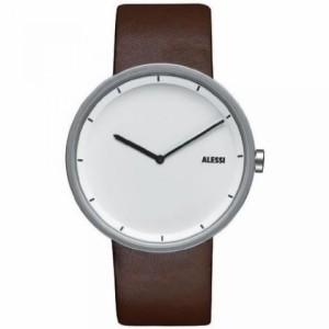 """""""〇〇(メンズ腕時計。) Alessi Men's AL13001 Stainless Steel Automatic Watch with Brown Leather Strap 正規輸入品"""""""