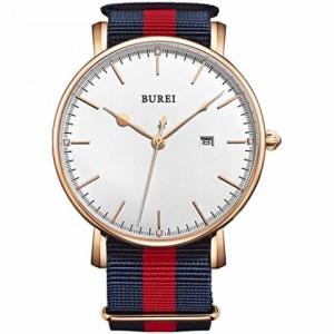 """""""〇〇(メンズ腕時計。) BUREI Men's Rose Gold Watch with Nylon Strap and White Dial 正規輸入品"""""""