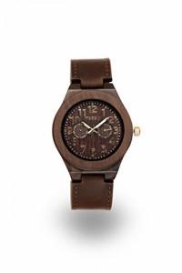 """""""〇〇(メンズ腕時計。) Handmade Wooden Watch Made with Blackwood and a Dark Brown Leather Band - Gold Face 正規輸入品"""""""