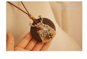 【送料無料】 ロングネックレス クリスマス ネックレス トナカイ アンティーク プレゼント お祝い  ペンダント   アクセサリ  春財布 春
