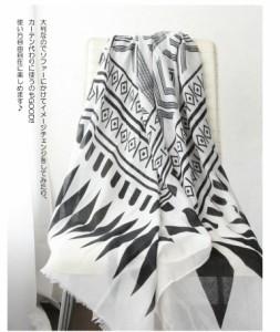 [送料無料]新商品 今年のトレンド民族柄ロングストール ボヘミアン ストール インディアン ストール エスニック モノトーン 白 ブラッ