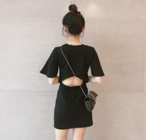 バックコンシャス 背中あき シンプル Tシャツ ワンピース r0015