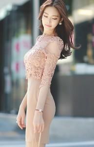 シースルー 刺繍 レース ピンク ワンピース b0015