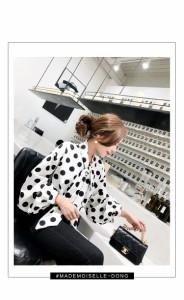 おすすめのお品☆ ドット柄 ボリューム袖ブラウス リボンタイ ボウタイ シャツ h0288