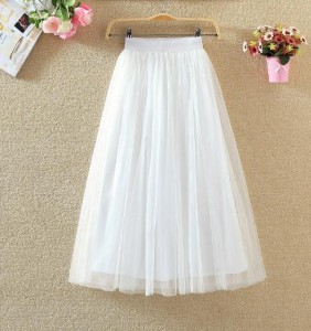 春夏チュールスカート レディース 3重チュール ロング丈スカート 美しいAラインボンボンドレース 65/75/85/90cmプリーツスカート