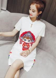 日常春夏 チャイナドレス ワンピース レディース 民族風 スカート/刺繍柄 復古風 中国風 少女清新 シンプル無地