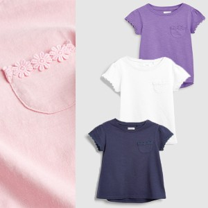 1e23a11e7d863 キッズ ベビー NEXT デイジートリム 半袖Tシャツ 無地 レース 花 ネイビー ピンク ホワイト パープル トップス