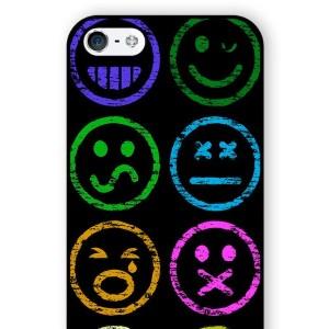 【送料無料】 スマホケース 顔文字 スマイル アートケース 保護フィルム付 iPhone Galaxy iPod iPad