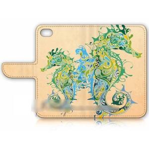 【送料無料】 スマホケース 手帳型 タツノオトシゴ 竜の落とし子 USBケーブル付 保護フィルム付 iPhone Galaxy iPod iPad