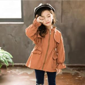 5ff88df79c825 女の子 キッズ ブルゾンジャケット フリル 韓国子供服 ブルゾンジャケット ブルゾン ジャケット シンプル ジップアップ 春秋