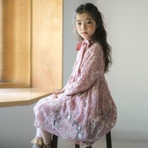 子供服 女の子 ワンピースドレス レスワンピース 長袖 上品 通学 韓国子供服 ジュニア dress アウター ワンピ キッズ用 ピンク 可愛い
