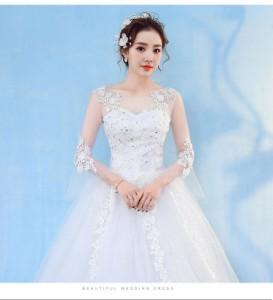 edc90a80cb794 結婚式ワンピース お嫁さん 豪華な ウェディングドレス 花嫁 ドレス エンパイア 大人エレガント 優雅 姫系ドレス 白ドレス