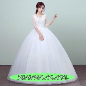 結婚式ワンピース ウェディングドレス 高級刺繍 マキシドレス 薄手 セクシー Vネック チュールスカート Aラインワンピース ホワイト色