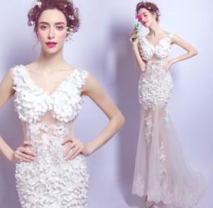 結婚式ワンピース ウェディングドレス 花嫁 ドレス 高級刺繍 Vネック タイトスカート チュールスカート 白ドレス