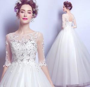 結婚式ワンピース お嫁さん 豪華な ウェディングドレス 丸襟 五分袖 刺繍 透け感チュール ロング丈ワンピス 花嫁 ドレス