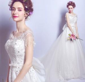 結婚式ワンピース お嫁さん 豪華な ウェディングドレス 丸襟 蝶結び付き 刺繍 透け感チュール ロング丈ワンピス 花嫁 ドレス