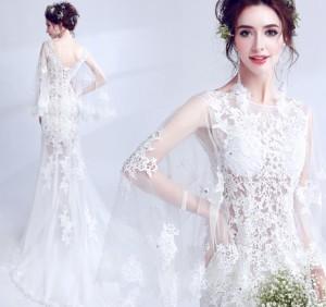結婚式ワンピース お嫁さん 高級刺繍 豪華な ウェディングドレス 透け感 チュール 花嫁 ドレス マキシドレス 白ドレス