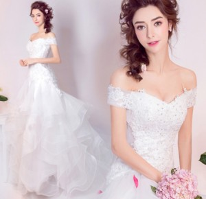 結婚式ワンピース お嫁さん 高級刺繍 豪華な ウェディングドレス 体型カバー aライ チュールスカート 花嫁 ドレス マキシドレス