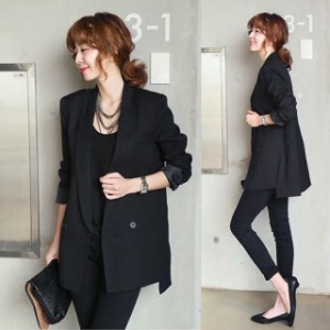 レディース テーラードジャケット 大きいサイズ スーツ ジャケット オフィス 通勤 OL 長袖 サマージャケット 黒 ブラック オシャレ