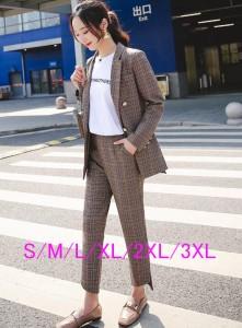 6807aa8c9c23 チェック柄セットアップ 韓国ファッション レディース トレンド パーティー/パンツ ジャケット スーツ カジュアル 二次会 通勤 お
