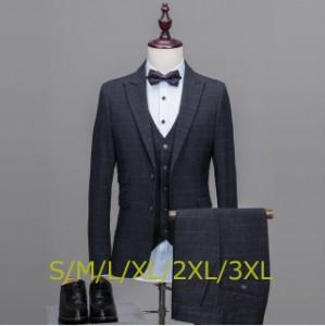 3ピーススーツ メンズ スーツ フォーマル 2ツボタン チェック柄 スリムスーツ ビジネス 春秋物 クールビズ パーティー 結婚式