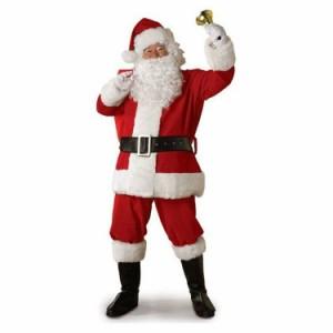サンタクロース 衣装 メンズ サンタ コスプレ コスチューム 6点セット ブーツ カバー付属 (ジャケット+ズボン+ベルト+帽子+ひげ+靴カバ