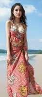 フリル エスニック柄 ショール付き セクシー 大人可愛い 水着 体型カバー 足長効果 水着 3点セット 夏 レディース ビキニ プチプラ