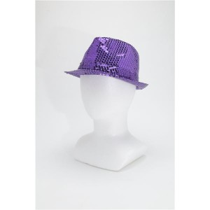 【コスプレ】 スパンコールハット /帽子 【パープル】 ポリエステル製 頭囲約60cm 〔イベント 仮装 舞台小物〕