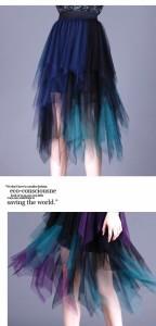 【お取り寄せ】【2カラー】アシンメデザイン ランダムカラーチュールスカート yj030907