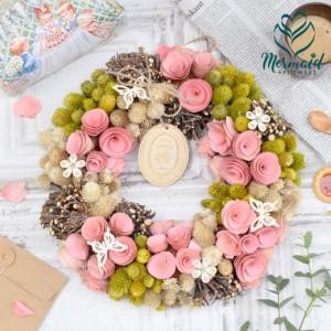 玄関 花 誕生日 送別 新築祝い 結婚祝い  お礼 歓送迎ドライフラワー リース  インテリア 春 実物など