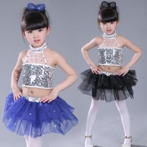 1827713ef7e00 ダンス衣装 子供服 大人 セットアップ キッズ ジャズダンス スパンコール ベスト+スカート 子供 舞台衣装