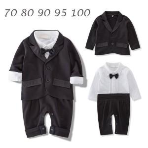 15183236f2f66 ベビー スーツ ロンパース 2点フォーマル 男の子 子供服 出産祝い スーツ 紳士服 蝶ネクタイ