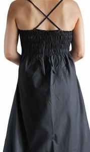 モスリン ラップ風スリップドレス 黒(DCG-003-01M)
