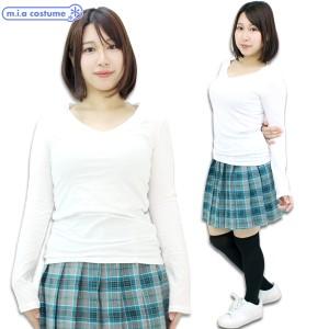 1251C■【送料無料・即納】B品 アメリカ製の綿100%レディースVネック長袖カットソー 色:白 サイズ:S/M/L