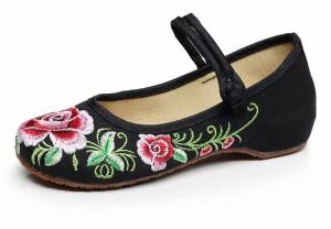 花柄 洒落な 麻素材 ペタンコ フラットシューズ チャイナ スニーカー 靴 快適