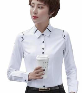 2色 レディース シャツ長袖 ワイシャツ 通勤オフィス 入学式に七五三 OL 大きいサイズ  トップス 制服 事務服 フォーマル ビジネス ブ