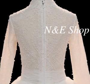 ウェディングドレス レース プリンセス Aライン 襟付き 長袖 レトロ 刺繍レース
