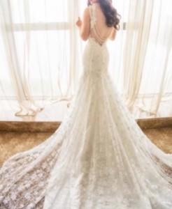 ウェディングドレス レース マーメイド Vネック 背中開き キャミソール 結婚式 前撮り 二次会 ウェディング パーティー
