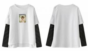 重ね着風 Tシャツ レディース ストライプ×プリントTシャツ