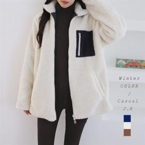 ジャケット リバーシブル レディース  ボア モコモコ ジップアップ 両面使える アウター 冬 保温性 防寒用 ゆったり 体型カバー(d1043119の画像