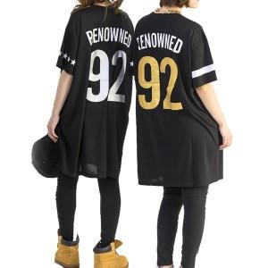 デカ 92 ナンバー tシャツ チュニック ワンピース ミニ丈 ダンス 衣装 星柄 黒 ブラック 半袖 無地 ネコポス可