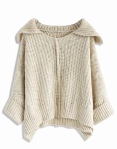 ※お取り寄せ 可愛いニットセーター ルーズ フェミニン ホワイト