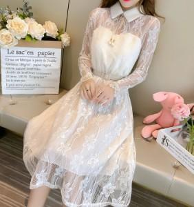 パーティ ドレス ワンピース もこもこ レース 透け感 シアー 花柄 ホワイト きれいめ 襟