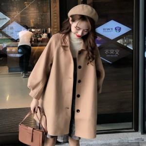 ステンカラーコート レディース 冬 アウター 韓国 オルチャン ファッション 春服 秋服 冬服 ベージュ 黒 ブラック 可愛い 通勤 オフィス の画像