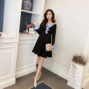 ワンピース ミニワンピース 長袖 袖あり 20代 30代 黒 ワンピース フリル袖 ワンピース 韓国 ワンピース 大きいサイズ ワンピース aライ