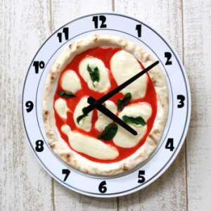 結婚祝いプレゼント 掛け時計 掛時計 壁掛け時計 アナログ ステップ 食品サンプル プレートクロックマルゲリータ