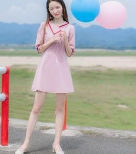 キュートなAラインワンピース☆アシンメトリー裾がおしゃれ